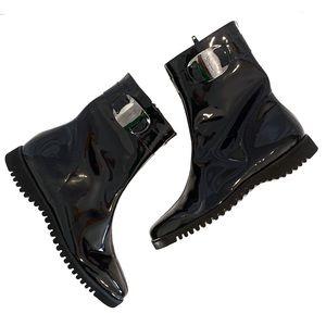 Salvatore Ferragamo Patent Leather Vara Short Boot